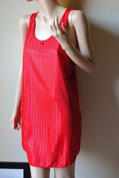 Vintage Red Pinstripe Racerback Sleep Shirt  by by LingerieAddicts, $23.50