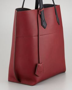 ZOOM +      Fendi Matte Leather Shopping Tote Bag, Oxblood
