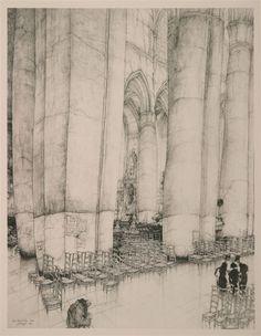 Jules De Bruycker(Belgian, 1870-1945) St.Niklaaskerke   Interieur