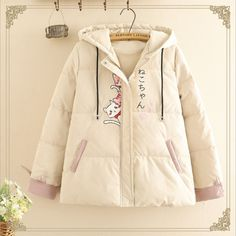 Korean Fashion Work, Japanese Fashion, Kawaii Fashion, Cute Fashion, Women's Fashion, Fashion Outfits, Hooded Bomber Jacket, Rain Jacket, Hogwarts