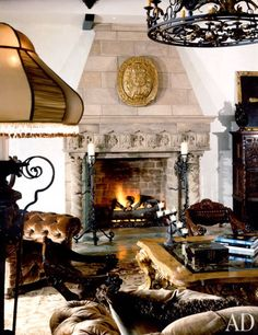 Cher at Her California Villa , living room interior .