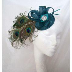 Teal Blue Peacock Feather Plume Sinamay Bow Loop & Crystal Fascinator Mini Hat Wedding - Custom Made to Order