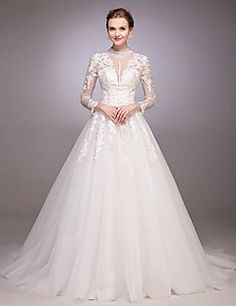A-Line Princess Jewel Neck Court Train Tulle Wedding Dress with Beading Sequin Appliques Button by LAN TING BRIDE® – USD $ 500.00