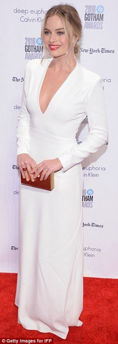 Get it right in white like Margot in her Calvin Klein dress #DailyMail  Click 'Visit' to buy now