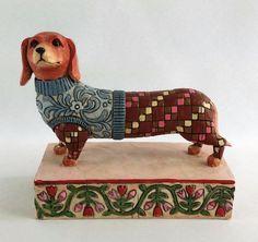 #JimShore V4004851 #Longfellow #Dachshund Wearing Sweater Figurine Weiner Dog 2005 #HeartwoodCreek