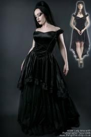 Calista Black Velvet Off-Shoulder Fishtail Gothic Dress