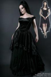 Calista Black Velvet Off-Shoulder Fishtail Gothic Dress