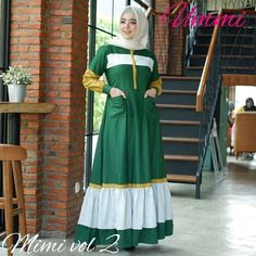 Harga : Azkia Mimi Dress Bahan : Balotelli mix katun Ukuran : All size. Muslim Fashion, Hijab Fashion, Muslim Long Dress, Hijab Cartoon, Antara, Mode Hijab, The Dress, Catwalk, Designer Dresses