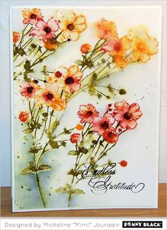 Poppy Poem Flower Blossom Wood Mounted Rubber Stamp PENNY BLACK 4036K New