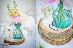 Small bottles with flower as table decoration. By Jeremy Chou