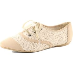 Cream crochet Oxford shoes
