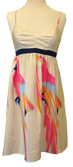 Amanda Uprichard : Sand Parrot Print Silk Garden Dress