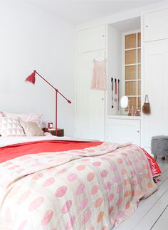 Pastel Polka Dotted Bedding / Via Inside Homes