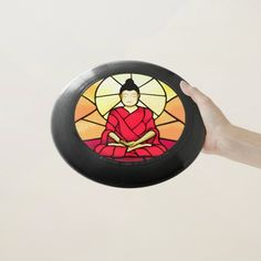 Bali buddha stain glass window Wham-O frisbee - tap to personalize and get yours #WhamOfrisbee  #buddha #stain #glass #glass #effect