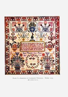 Design - Textile - Embroidery - Sampler, 1775