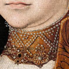 """Lucas Cranach, dit l'Ancien, """"Portrait d'une noble dame saxonne"""", 1534 (détail)"""