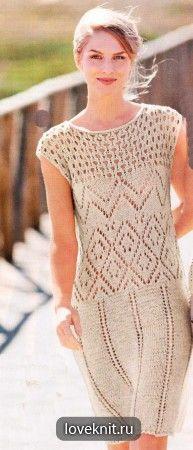 Ажурное платье с узорами  раздел спицами платья, сарафаны спицами