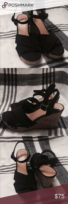 Franco Sarto black wedged sandals Franco Sarto wedged sandals. Worn once. Size 6. Heels around 3 inches tall. Mid width Franco Sarto Shoes Wedges