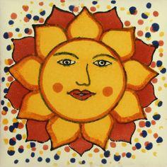 Decorative Mexican Tile Sol Punteado - Yellow Sun