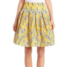 Oscar de la Renta Pleated Silk Floral-Print Skirt ($1,360) ❤ liked on Polyvore featuring skirts, apparel & accessories, marigold, floral skirt, long pleated skirt, silk skirt, floral printed skirt and floral print skirt
