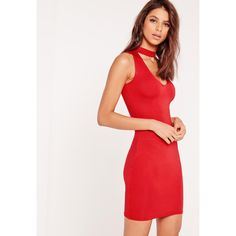 Missguided Choker Neck Jersey Bodycon Dress ($19) ❤ liked on Polyvore featuring dresses, red, bodycon dress, white jersey dress, jersey dress, red jersey dress and missguided dress