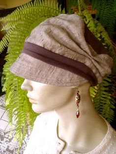 Summer Hat Taupe Linen slouchy Cloche Womens by GypsyLoveHeadbands, $56.00