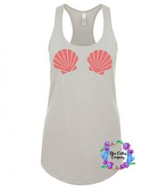 dda1db7967f Mermaid Seashells - White Slouchy Tanks - Mermaid Shell Shirt