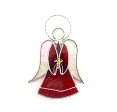 My print Christmas Doors No 2 on Angels We Have Heard On High by Diane Waters on Etsy Stained Glass Angel, Silver Bow, Red Art, Fused Glass Art, Gold Cross, Suncatchers, Vintage Silver, Prints, Iridescent