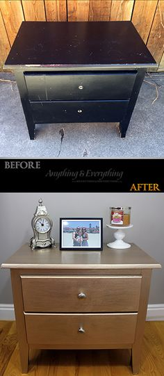 Quick nightstand makeover using Modern Masters Metallic Paint Collection in color Warm Silver and Smoke - Anything & Everything #ModernMasters