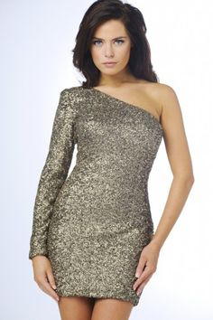 Sequin One Sleeve Dress - AX Paris USA-Fashion Dresses, Black Dresses, Evening Dresses and Party Dresses