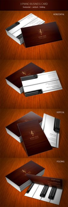 Stylish piano business card template available for purchasing in three different options as horizontal, vertical or folding card.