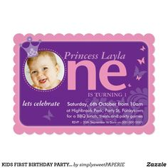 Kitty cat paper plates happy birthday invitations and party kids first birthday party photo one pink purple invitation stopboris Image collections