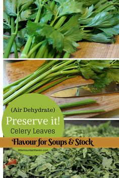 Preserve Celery Leaves ! Air dry for soups & stocks
