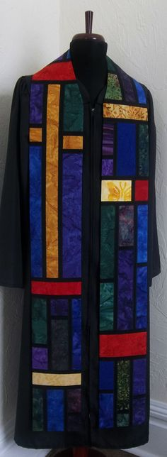 Clergy Stole for Ordinary Time or Any Season -- Stained Glass Design