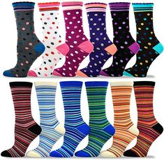 0f1cb541cd TeeHee Women's Value 12-Pack Fun Crew Socks (Dots and Stripe) at Amazon