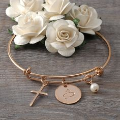 Rose Gold Bangle Bracelet with cross, initials and pearl Custom Jewelry, Unique Jewelry, Gold Bangle Bracelet, Gold Filled Jewelry, Rose Gold Plates, Initials, Bangles, Pearls, Christening