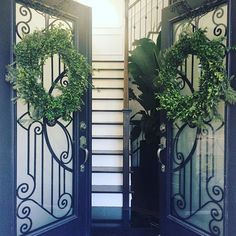 #christmas season has begun at our place...made these #boxwood #wreathes this morning #classic #entrance #blackandwhite #home