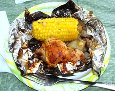 We just tried this chicken foil dinner on our recent vacation. I had done hamburger foil meals before, but not chicken and since I don't like to deal with raw meat camping, I was interested to see how we would like this. I actually made them a co
