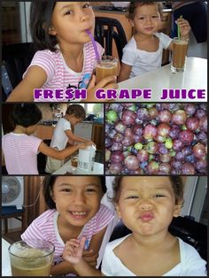PERFECT Grape Juice. Love this fresh and refreshing juice for this sunny day.  We are going to show how to make grape juice.  Step ONE : Baba (Daddy) picked the grapes  Step TWO: Nanay (Mummy) Washed and de-stemmed the grapes  Step THREE: Using electric juice extractor, press grapes.  Burp!Burp! Excuse US...LOL