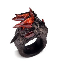 Spiky Red and Black Ring ❤