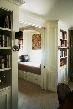Guest nook: pocket doors + beautiful built-ins