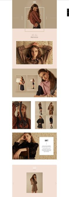 Perfectly modern web design and website template that has an excellent feminine chic and modern elegance. Clean layout, fashion magazine style and images create a delicate, feminine feeling and a luxurious touch. The use of soft pink and neutrals mak Editorial Design Layouts, Magazine Layout Design, Web Design Moderne, Modern Web Design, Flat Design, Lookbook Layout, Lookbook Design, Mise En Page Lookbook, Design De Configuration