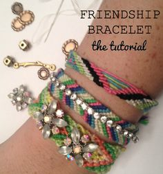 Mega Collection of Rhinestone Jewelry Tutorials ~ The Beading Gem's Journal Diy Friendship Bracelets With Beads, Beaded Bracelets, Bangles, Jewelry Making Tutorials, Craft Tutorials, Craft Ideas, Rainbow Band, Bracelet Tutorial, Diy Bracelet