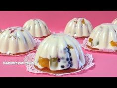 Gelatinas de Queso Crema 3 leches con frutas para mesa de postres o negocio - YouTube