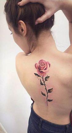 Tattoo rose back 22 ideas for 2019 - tattoo feminina Pretty Tattoos, Cute Tattoos, Beautiful Tattoos, Tattoos For Guys, Tattoos For Women, Small Tattoos, Small Colorful Tattoos, Tatoos, Spine Tattoos