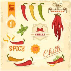 Fine Chili Food Label Vector Material