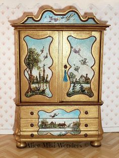1:12 D.H. miniature O.O.A.K Armoire Flying Witches - $210.00 : Alice Mini Wonders, French Country Style Dollhouse Miniatures