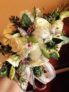 Wrist corsage created by Veronica Hoenshell at Norwin Floral.