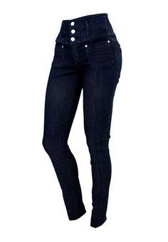 THREE-BUTTON HIGH WAIST SKINNY JEANS