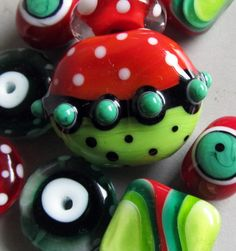 Christmas CrunchHandmade Lampwork Beads by beadygirlbeads on Etsy, $48.00